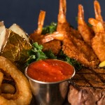 Steak & Deep Fried Prawns